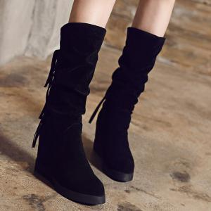 Hidden Wedge Fringe Mid Calf Boots -