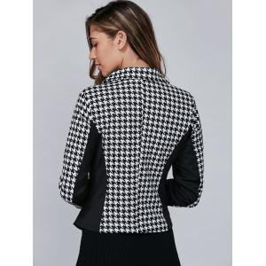 Houndstooth Pattern One Button Blazer - BLACK M