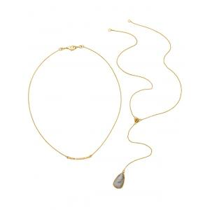 Natural Stone Water Drop Layered Necklace -