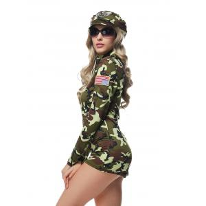 Army Officer Costume Camouflage Halloween Cosplay Romper -