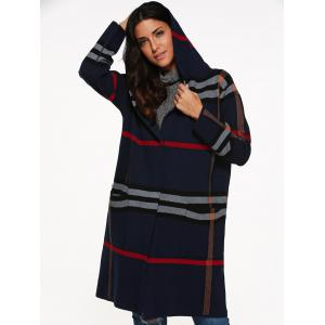 Hooded Plaid Coat with Pockets -