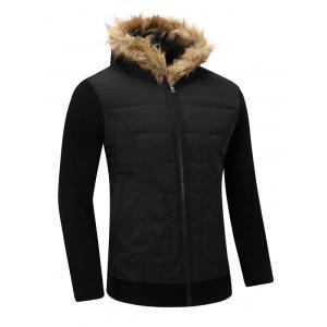 Furry Hood Thicken Zip-Up Cotton Padded Jacket -
