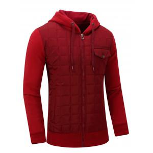 Hooded Plaid Thicken Zip-Up Cotton-Padded Jacket -