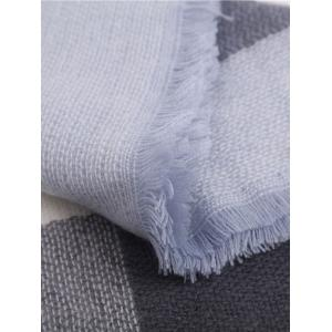 Autumn Plaid Pattern Fringed Edge Wrap Scarf - LIGHT BLUE