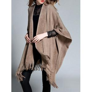 Plus Size Fringed Asymmetrical Shawl -