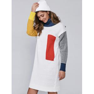 Turtleneck Color Block Long Sleeve Sweater Dress - WHITE ONE SIZE