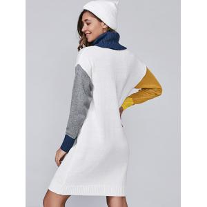 Turtleneck Color Block Sweater Dress - WHITE ONE SIZE