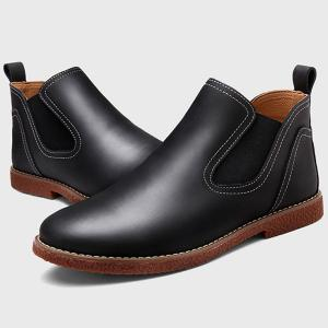 Slip-On Stitching PU Leather Ankle Boots - BLACK 43
