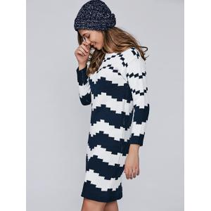 Wave Jacquard Pullover Sweater Dress - PURPLISH BLUE ONE SIZE