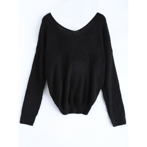 V Neck Knotted Back Chunky Jumper Sweater - BLACK ONE SIZE