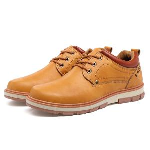 PU Leather Stitching Color Splice Casual Shoes - EARTHY 43