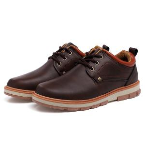 PU Leather Stitching Color Splice Casual Shoes - BROWN 41