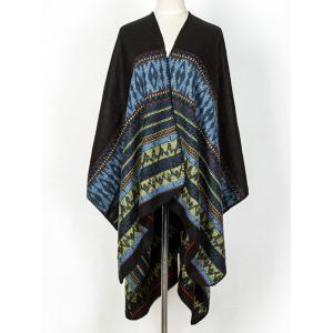 Streetwear Geometry Thicken Wrap Shawl Cape Pashmina - BLACK