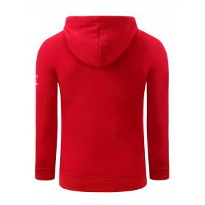 Hooded Graphic Printed Thicken Fleece Hoodie - RED 2XL