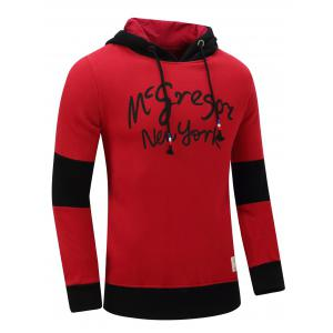 Hooded Graphic Printed Thicken Color Block Spliced Fleece Hoodie -