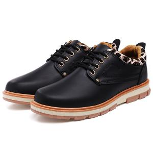 PU Leather Stitching Leopard Splice Casual Shoes -