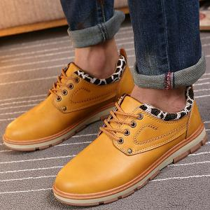 PU Leather Stitching Leopard Splice Casual Shoes - EARTHY 43