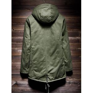 Zip Up Drawstring Hem Hooded Quilted Coat - ARMY GREEN 2XL