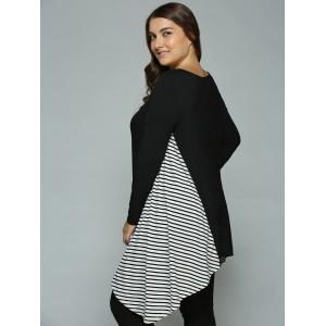 Plus Size Striped Loose Fitting Asymmetrical Blouse - WHITE AND BLACK XL