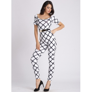 U Neck Printed Slimming Jumpsuit -
