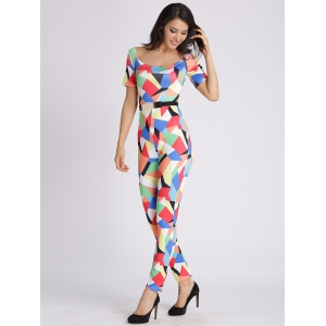 U Neck Colorful Geometric Jumpsuit -