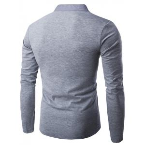 Sweat Semi-boutonnage Manches Longues - Gris Clair M