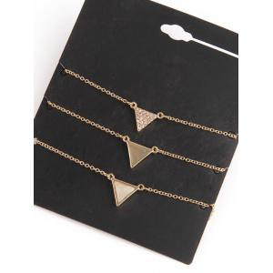Rhinestone Triangle Pendant Layered Necklace -