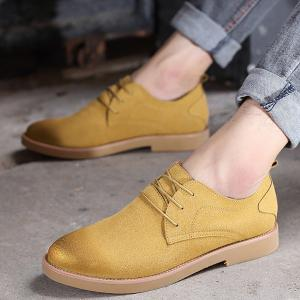 Retro Lace-Up Suede Casual Shoes - YELLOW 44