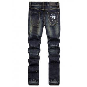 Hand Painted Print Zipper Fly Straight Leg Jeans -