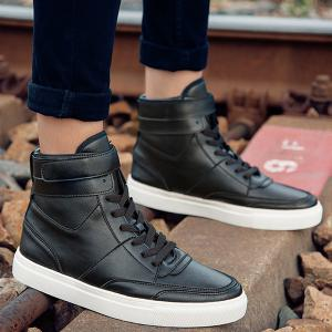 Casual PU Leather Lace-Up Boots - BLACK 44