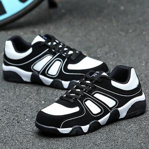PU Leather Color Block Athletic Shoes -