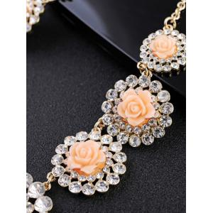 Rhinestone Rose Floral Necklace -