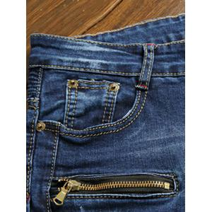 Moto Design Zipper Fly Straight Leg Jeans - BLUE 36