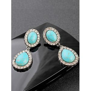 Faux Turquoise Water Drop Layered Earrings -