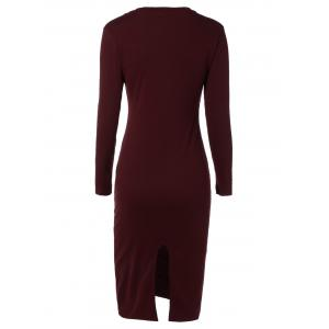 Long Sleeve Back Slit Pencil Dress - WINE RED XL