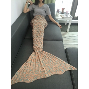 Comfortable Fish Scale Knitted Sofa Mermaid Blanket -