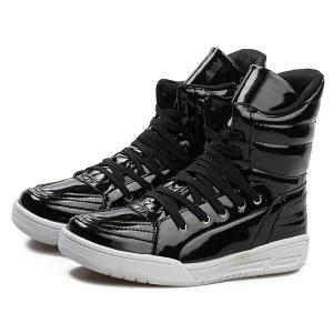 Casual Lace-Up Patent Leather Boots - BLACK 44