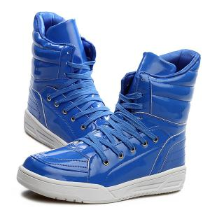 Casual Lace-Up Patent Leather Boots - BLUE 43
