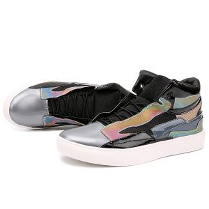 Color Block Mid Top Casual Shoes - BLACK 44
