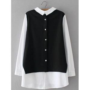 Plus Size Back Button Fake Twinset Shirt -