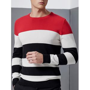 Color Block Splicing Design Crew Neck Long Sleeve Sweater - RED 3XL