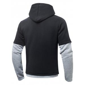 Color Block Drawstring Long Sleeve Fleeces Hoodie -