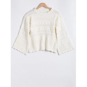 Hollow Out Round Neck Jacquard Mohair Sweater -