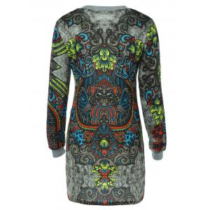 Long Sleeve Crew Neck Printed Dress -