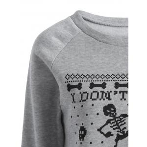 Skeleton Printed Sweatshirt - GRAY 2XL