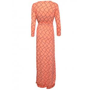 Wrap Wavy Checked Maxi Dress - ORANGEPINK 5XL