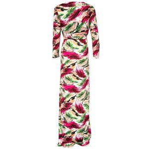 Wrap Colorful Printed Maxi Dress -