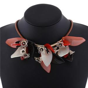 Faux Leather Rope Resin Flower Necklace -