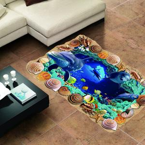 Creative Removable 3D Sea Caves World Bedroom Kindergarten Floor Sticker -