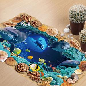 Creative Removable 3D Sea Caves World Bedroom Kindergarten Floor Sticker - COLORMIX